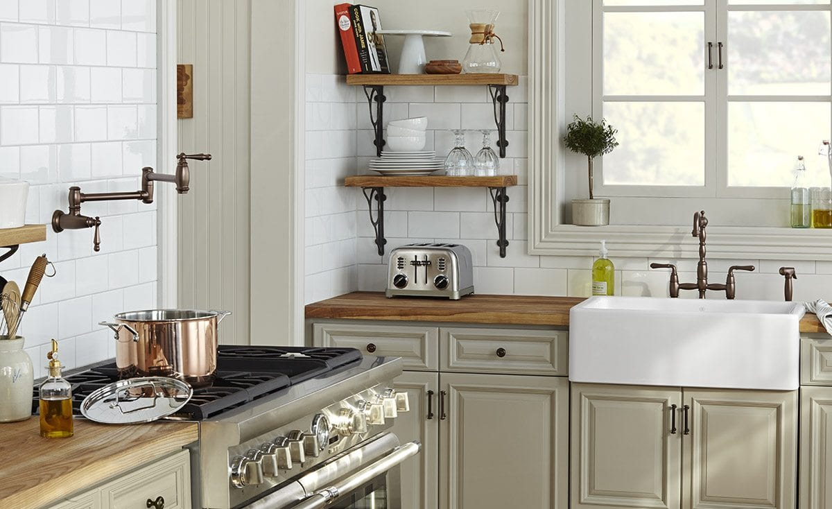 Mesmerizing Pot Filler Faucet With Kitchen Shelving And White Subway
